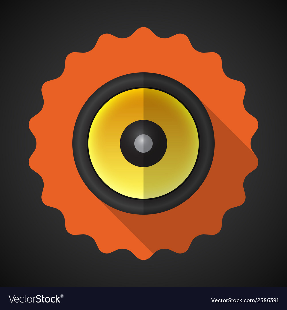 Music speaker sound system flat icon vector | Price: 1 Credit (USD $1)