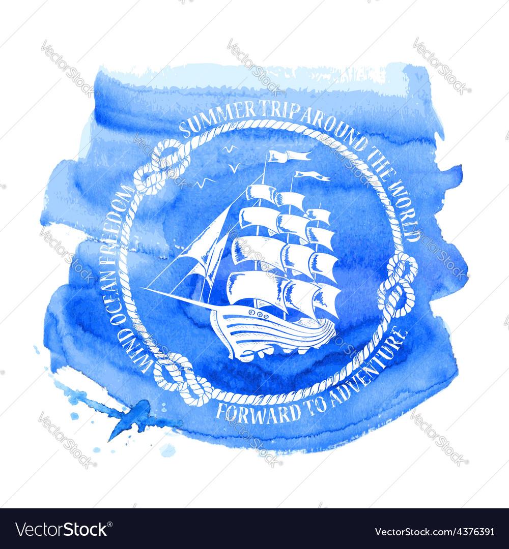 Nautical emblem with sailing ship vector | Price: 1 Credit (USD $1)
