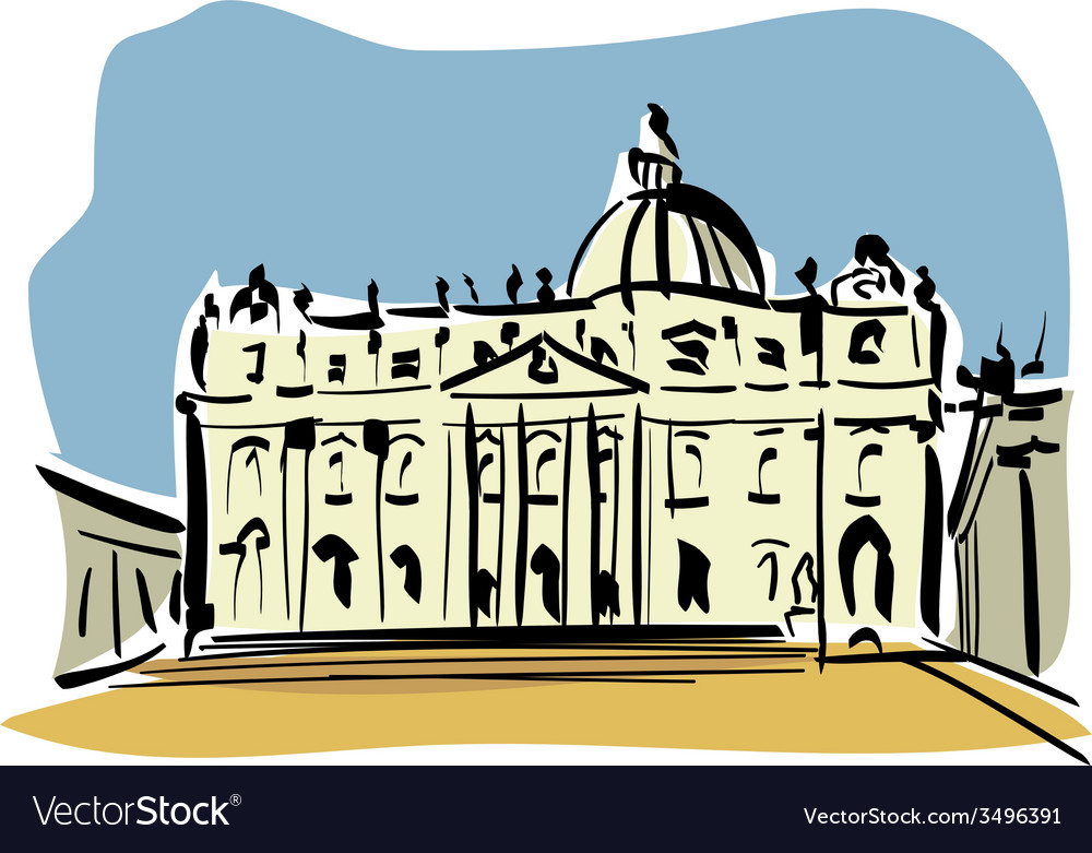 Rome st peters basilica vector | Price: 1 Credit (USD $1)