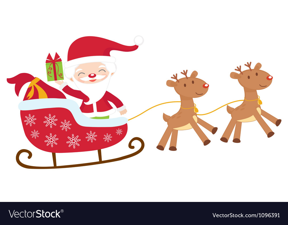 Santa in sledge isolated vector | Price: 1 Credit (USD $1)
