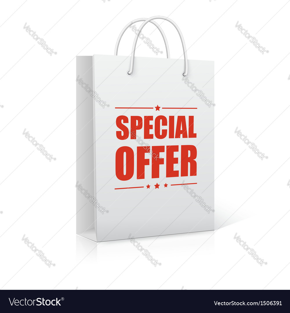 Shopping bag on white with text special offer vector | Price: 1 Credit (USD $1)
