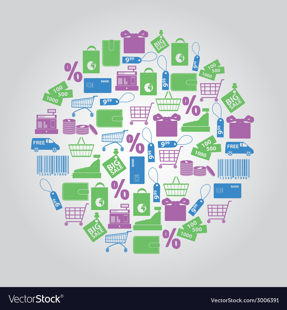 Shopping icons in circle eps10 vector | Price: 1 Credit (USD $1)