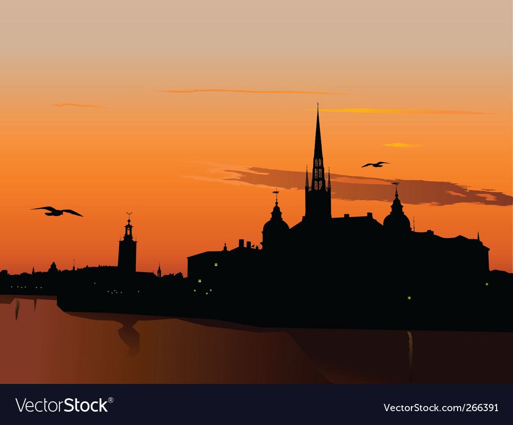 Silhouette of stockholm at sunset vector | Price: 1 Credit (USD $1)