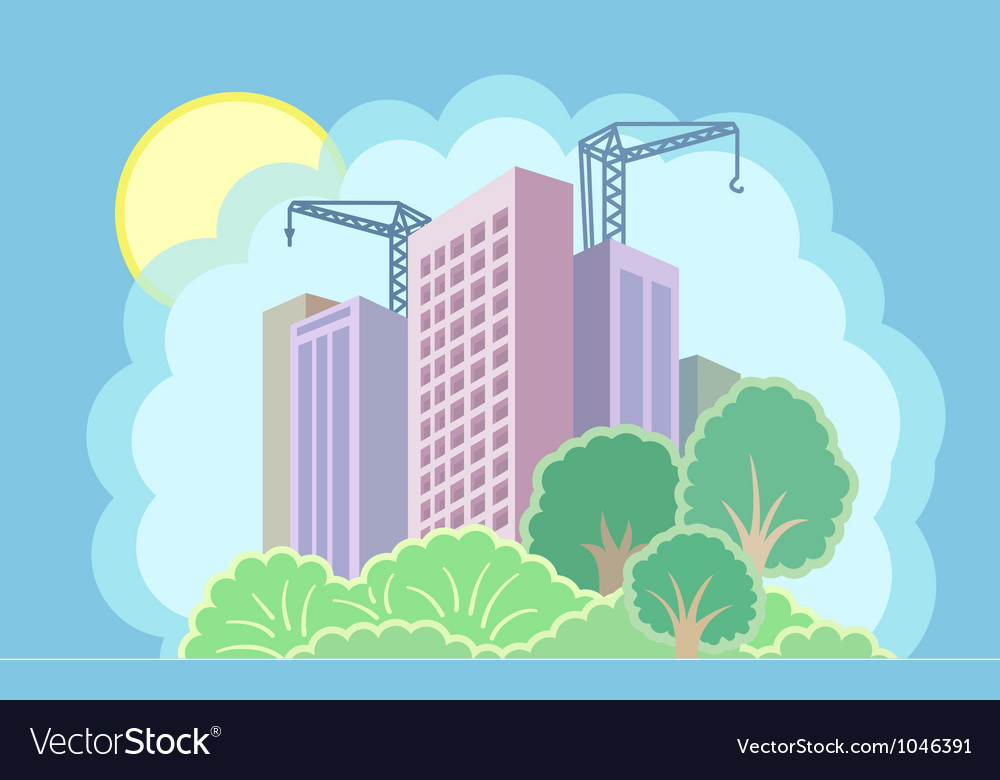 Sun city is under construction vector | Price: 1 Credit (USD $1)