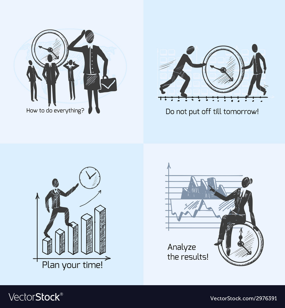 Time management composition sketch vector   Price: 1 Credit (USD $1)