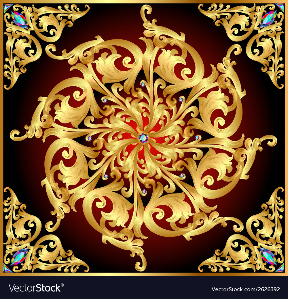 Background with gold floral patterns and precious vector | Price: 1 Credit (USD $1)