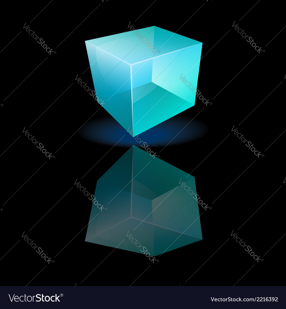 Blue glass cube on a smooth surface vector | Price: 1 Credit (USD $1)