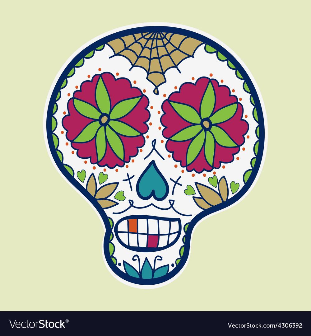 Hand-drawn sugar skull vector | Price: 1 Credit (USD $1)