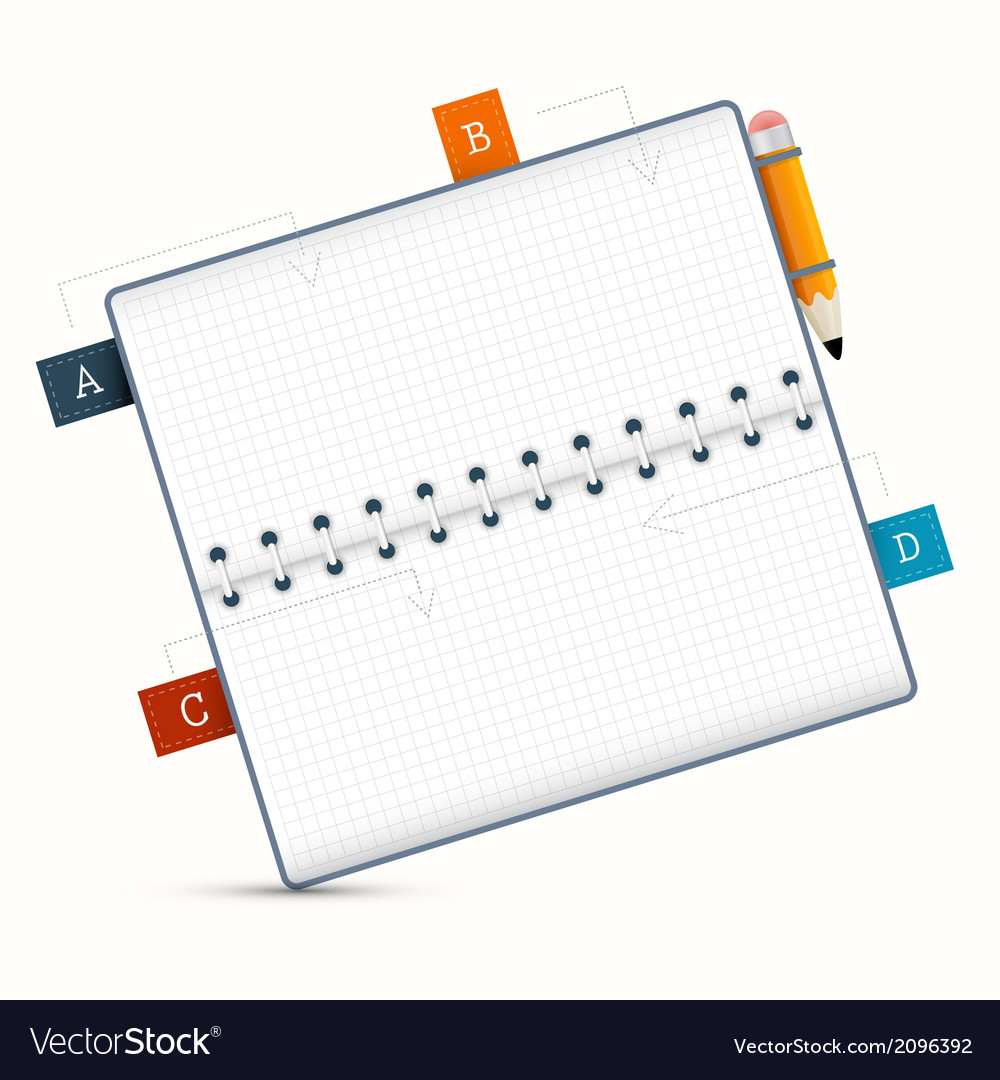 Paper notebook on white background vector | Price: 1 Credit (USD $1)