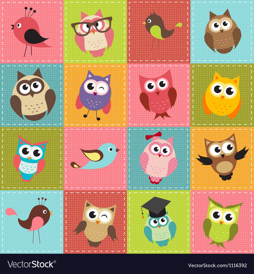 Patchwork background with owls vector | Price: 3 Credit (USD $3)