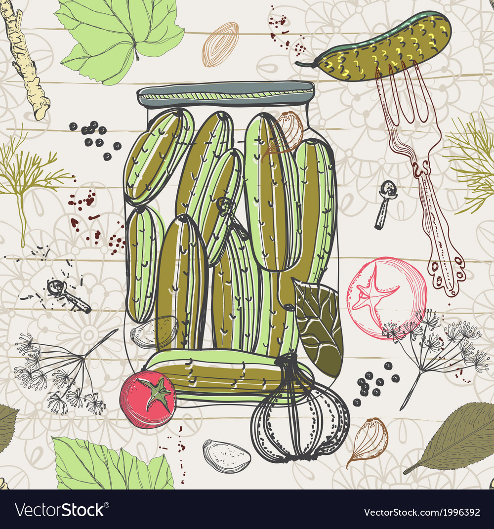 Pickled cucumbers seamless pattern vector | Price: 1 Credit (USD $1)