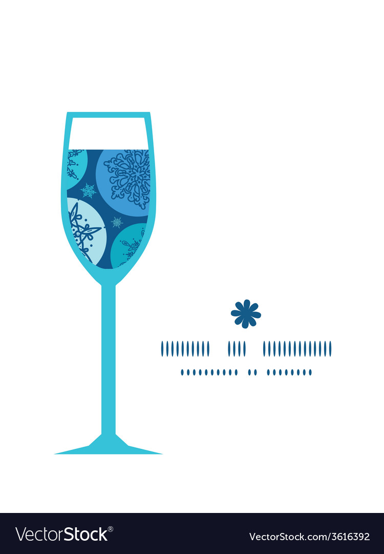 Round snowflakes wine glass silhouette pattern vector | Price: 1 Credit (USD $1)