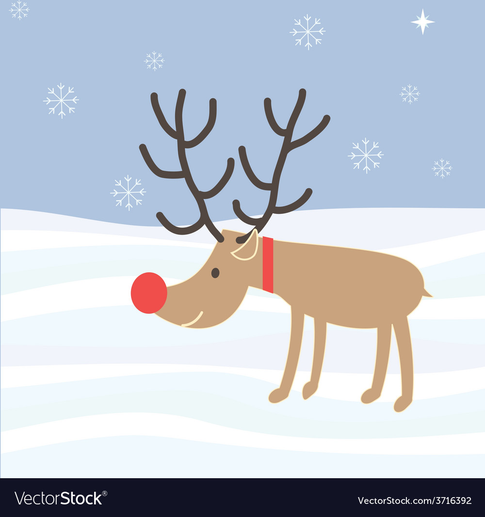 Rudolph reindeer christmas holiday cartoon vector | Price: 1 Credit (USD $1)