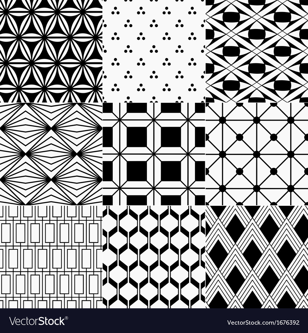 Seamless monochrome geometric pattern vector | Price: 1 Credit (USD $1)