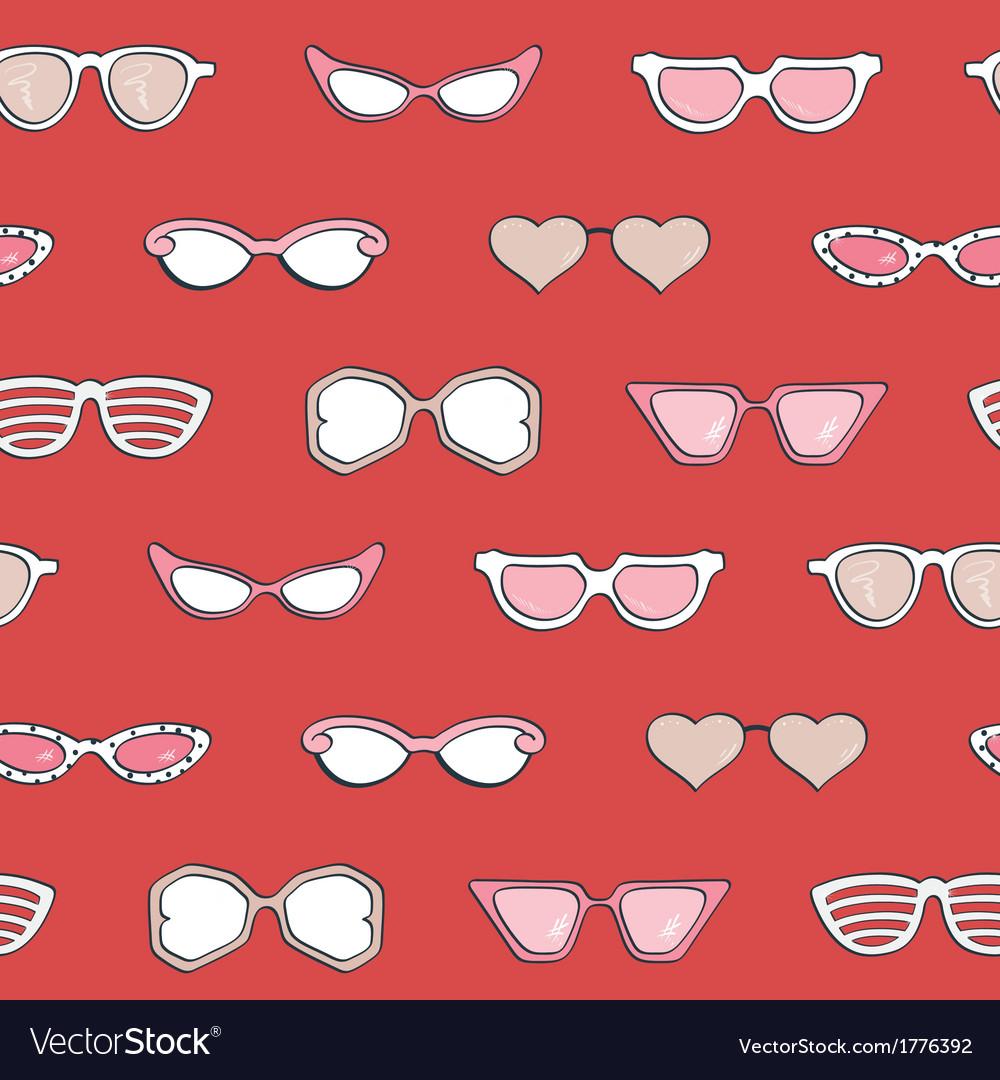 Seamless pattern women fashion sunglasses set vector | Price: 1 Credit (USD $1)