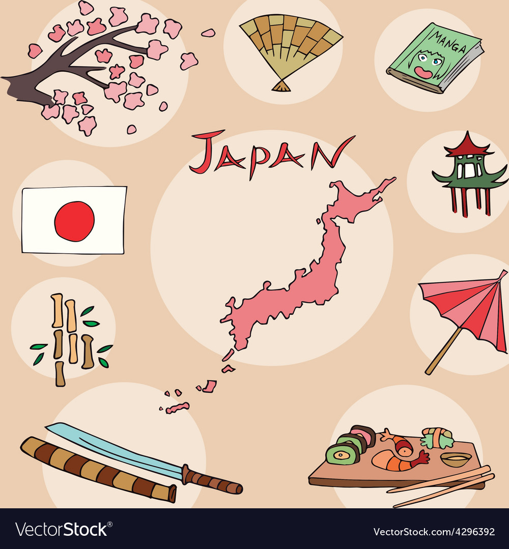 Set of national profile of the japan vector | Price: 1 Credit (USD $1)