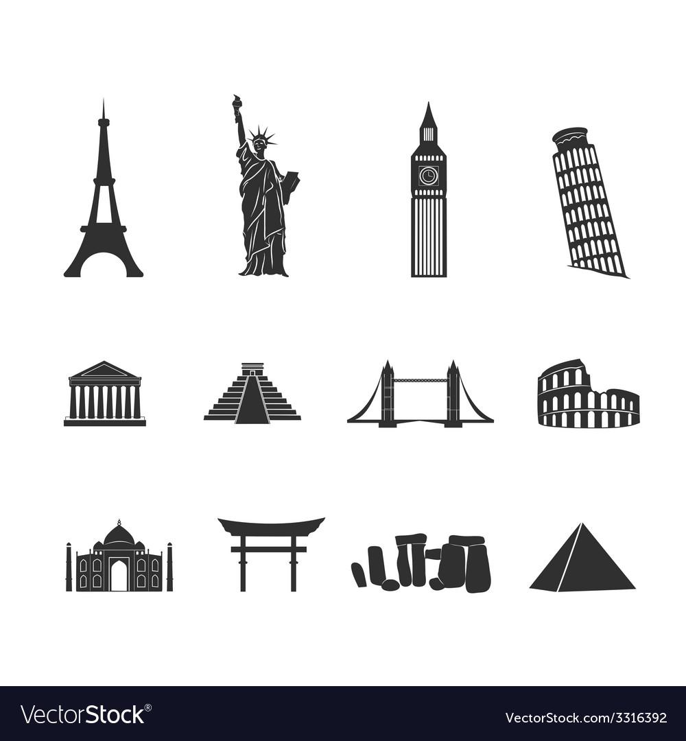 World landmarks black and white icons set vector | Price: 1 Credit (USD $1)