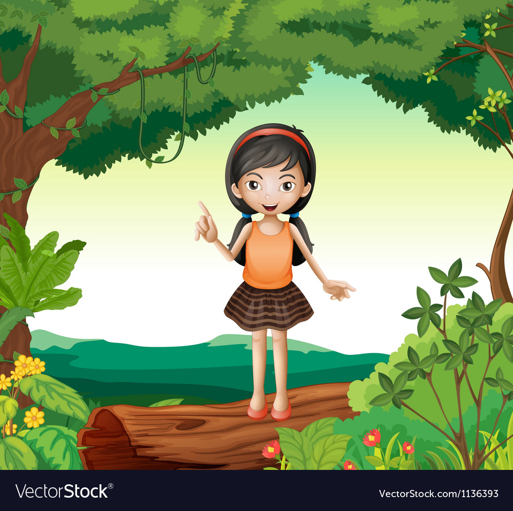 A girl standing on wood in nature vector | Price: 1 Credit (USD $1)