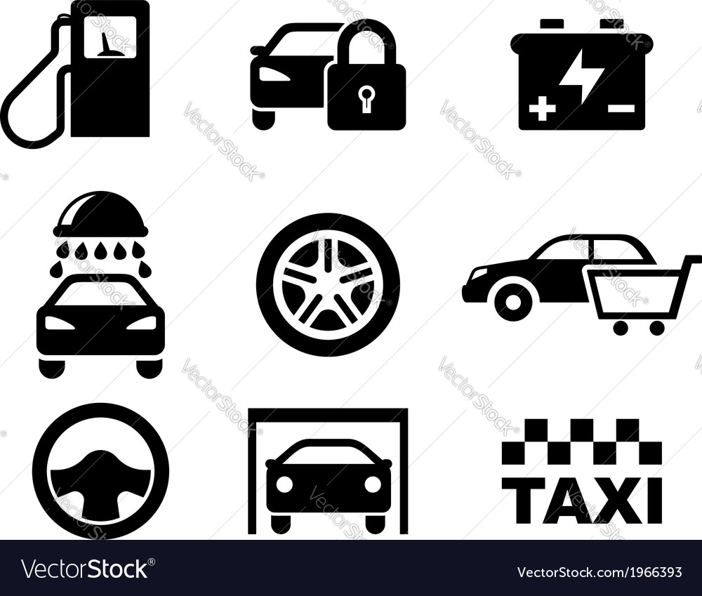 Black and white car service icons vector | Price: 1 Credit (USD $1)