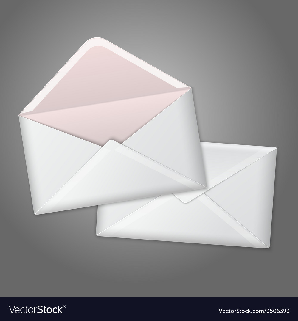 Blank white realistic envelopes opened and close vector | Price: 1 Credit (USD $1)