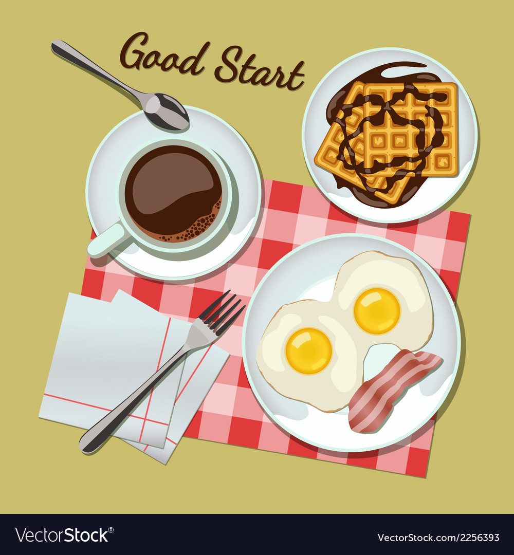 Breakfast set top view vector | Price: 1 Credit (USD $1)