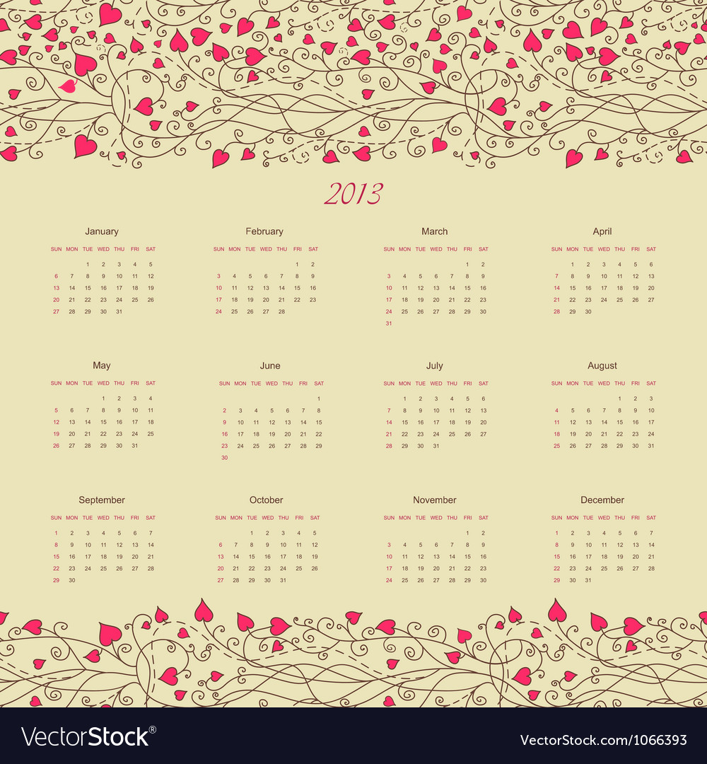 Calender 2013 vector | Price: 1 Credit (USD $1)