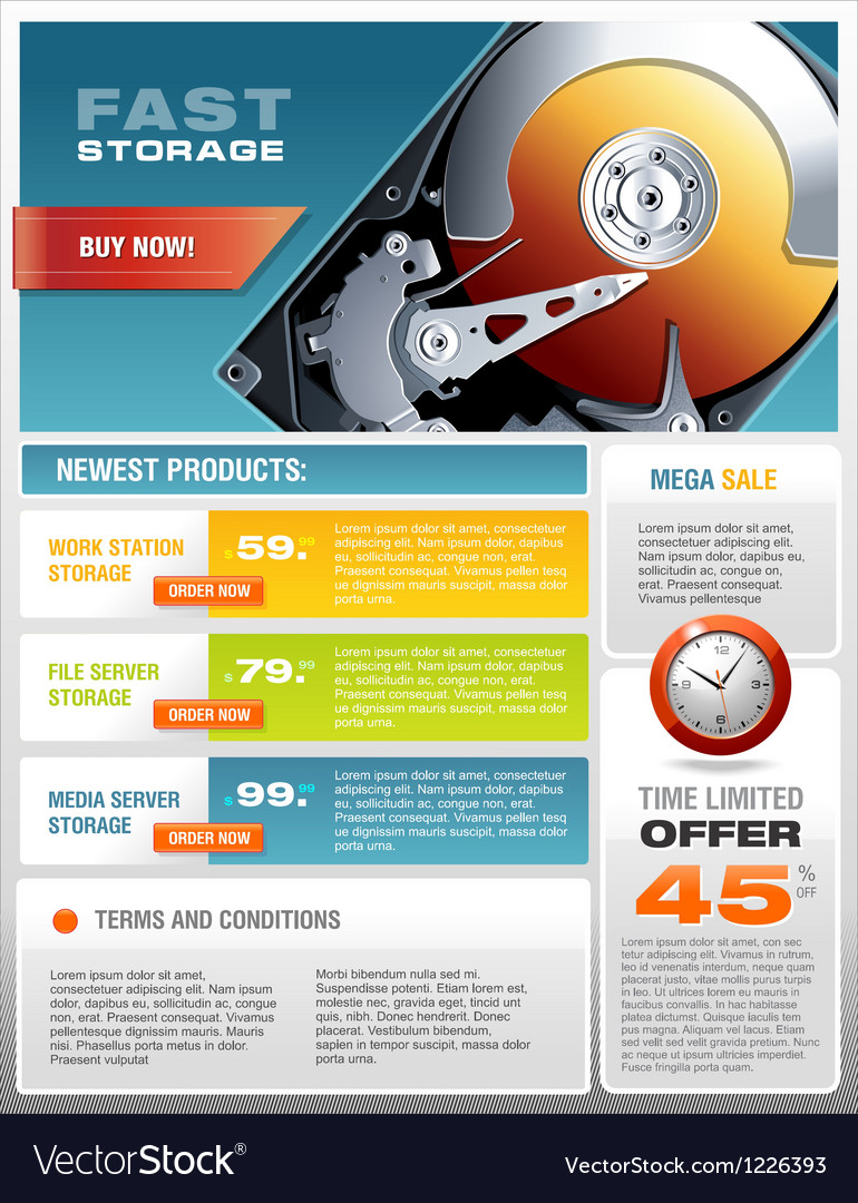 Hd hard disk sale promotional brochure vector | Price: 5 Credit (USD $5)