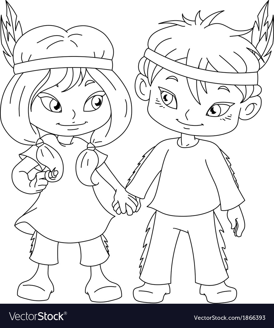 Indian boy and girl holding hands for thanksgiving vector | Price: 1 Credit (USD $1)
