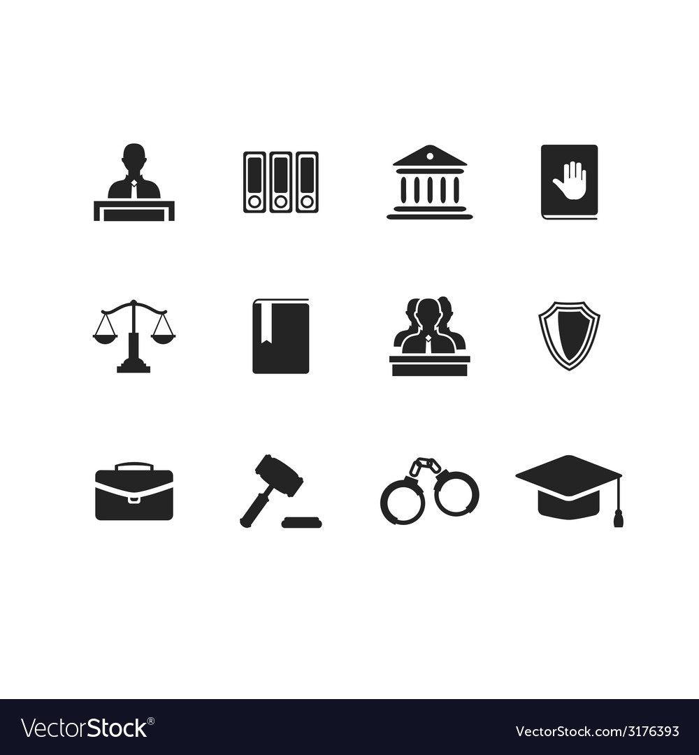 Set of black law and justice icons vector | Price: 1 Credit (USD $1)