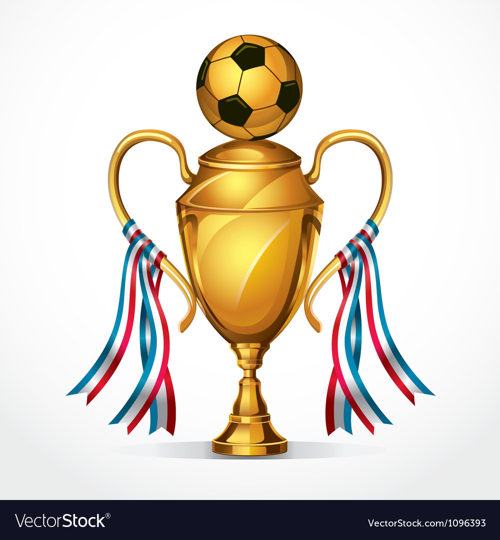 Soccer golden award trophy and ribbon vector | Price: 3 Credit (USD $3)