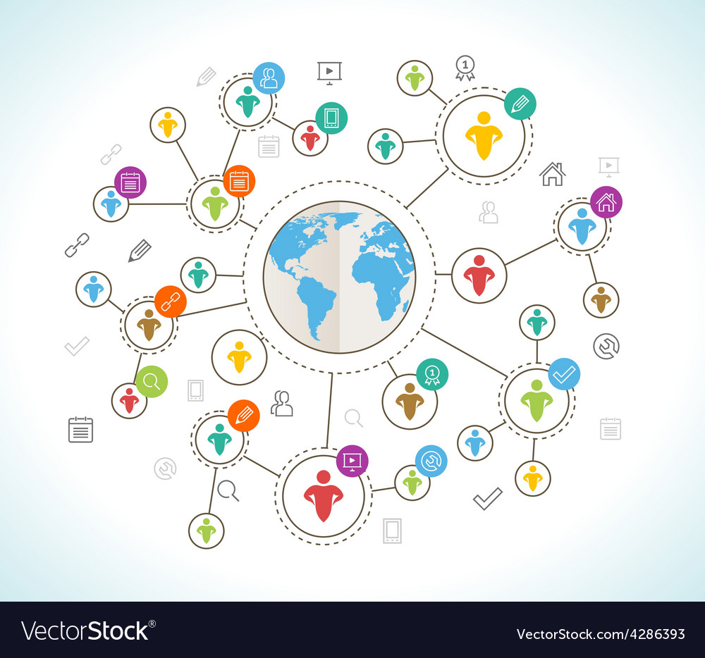Social network flat design concept with world map vector | Price: 1 Credit (USD $1)