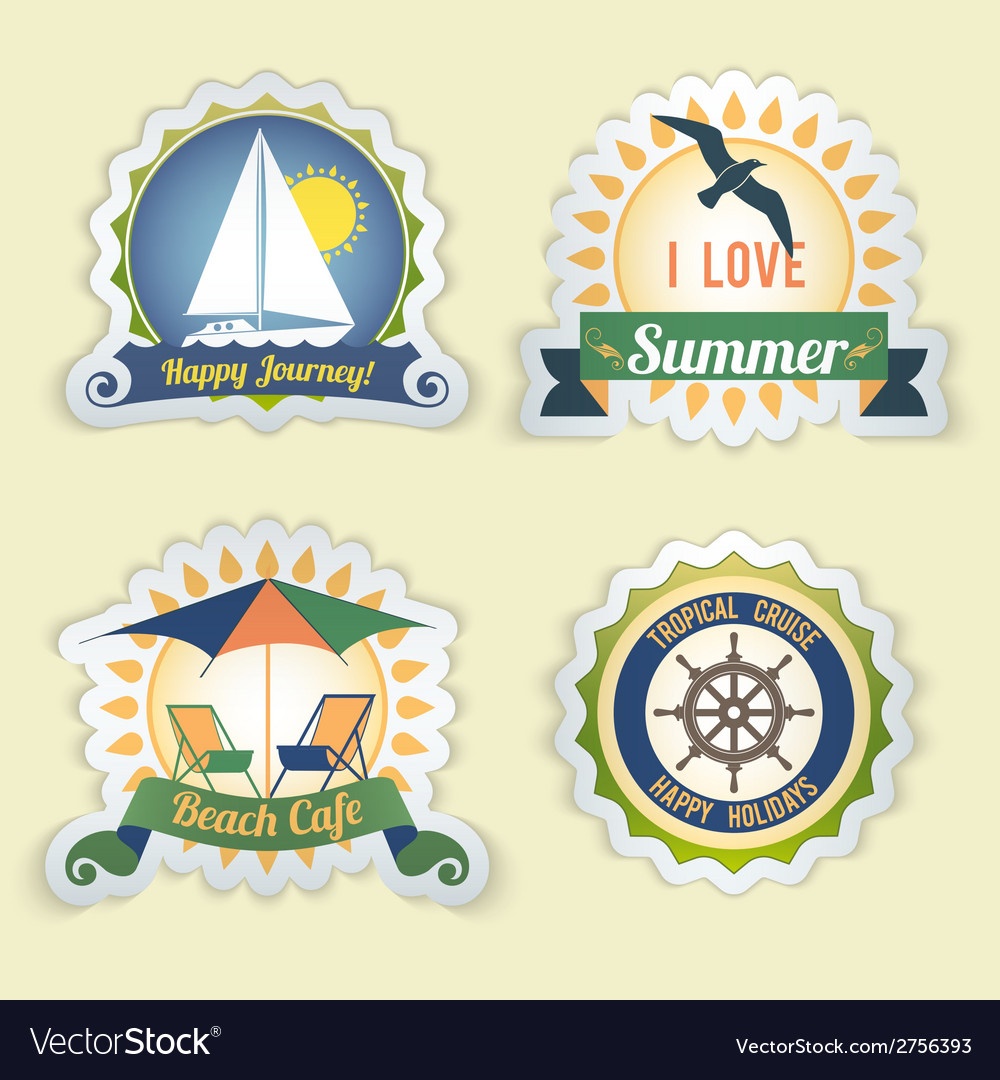 Summer sea emblems vector | Price: 1 Credit (USD $1)