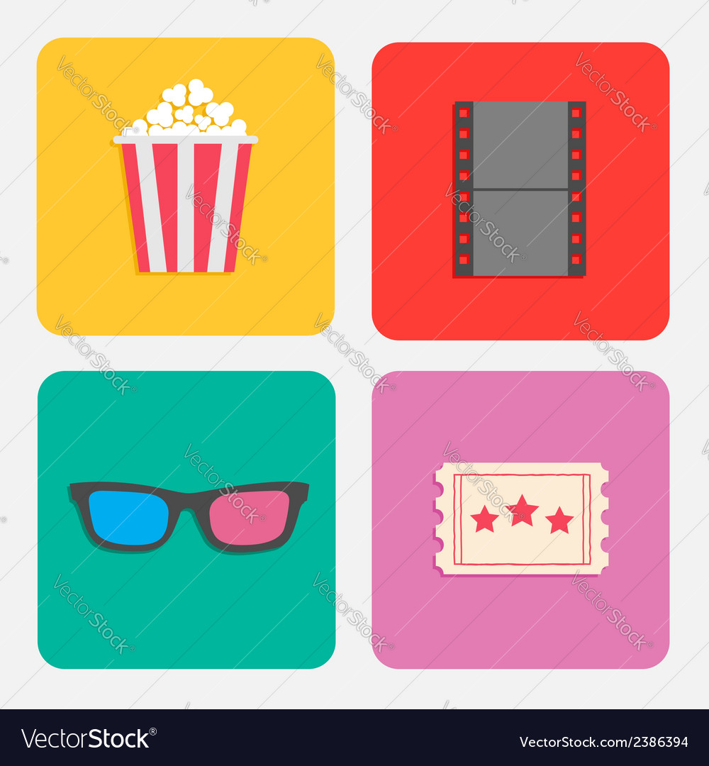 3d glasses ticket popcorn film cinema icon set vector | Price: 1 Credit (USD $1)