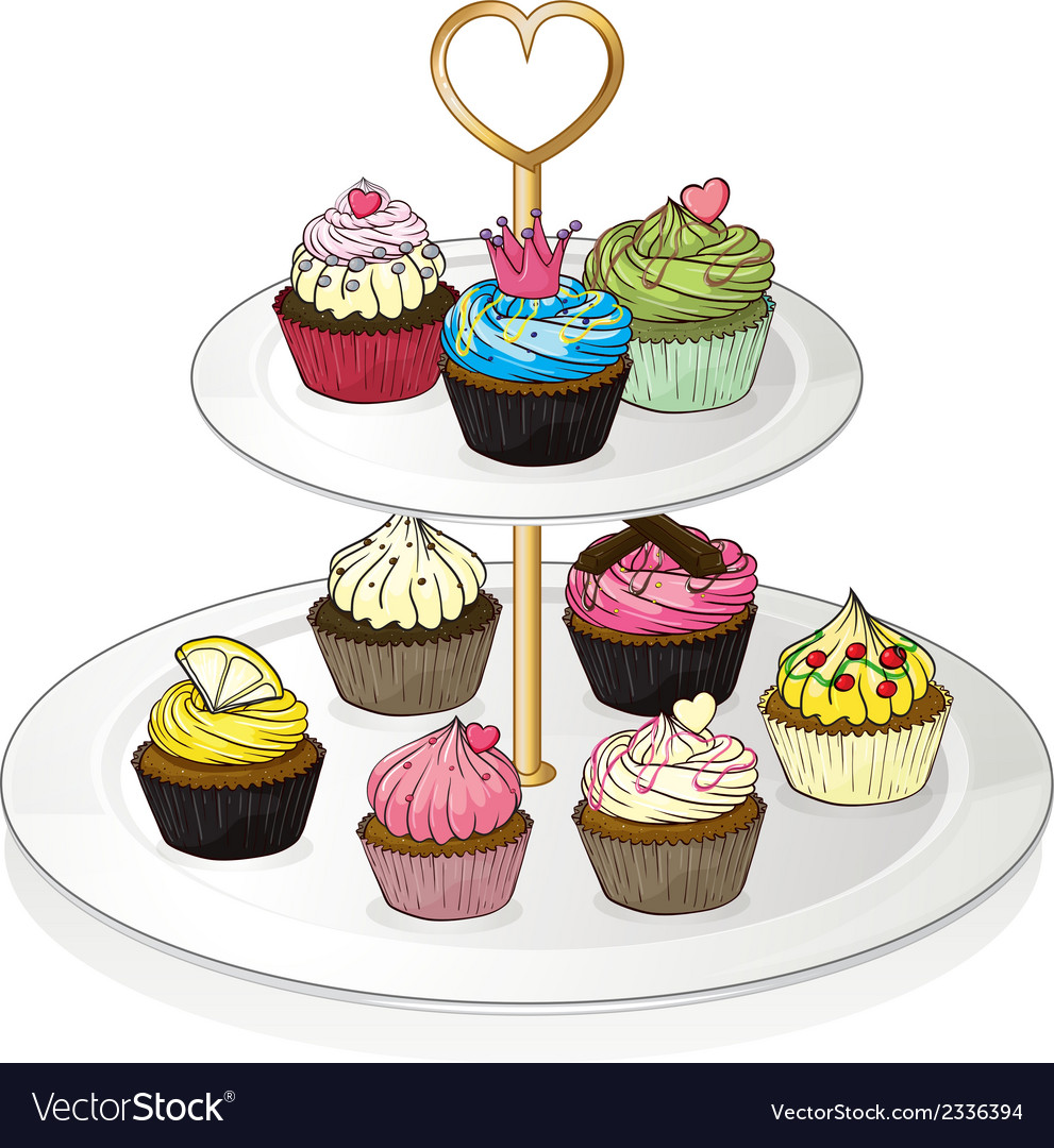 A tray with cupcakes vector | Price: 1 Credit (USD $1)