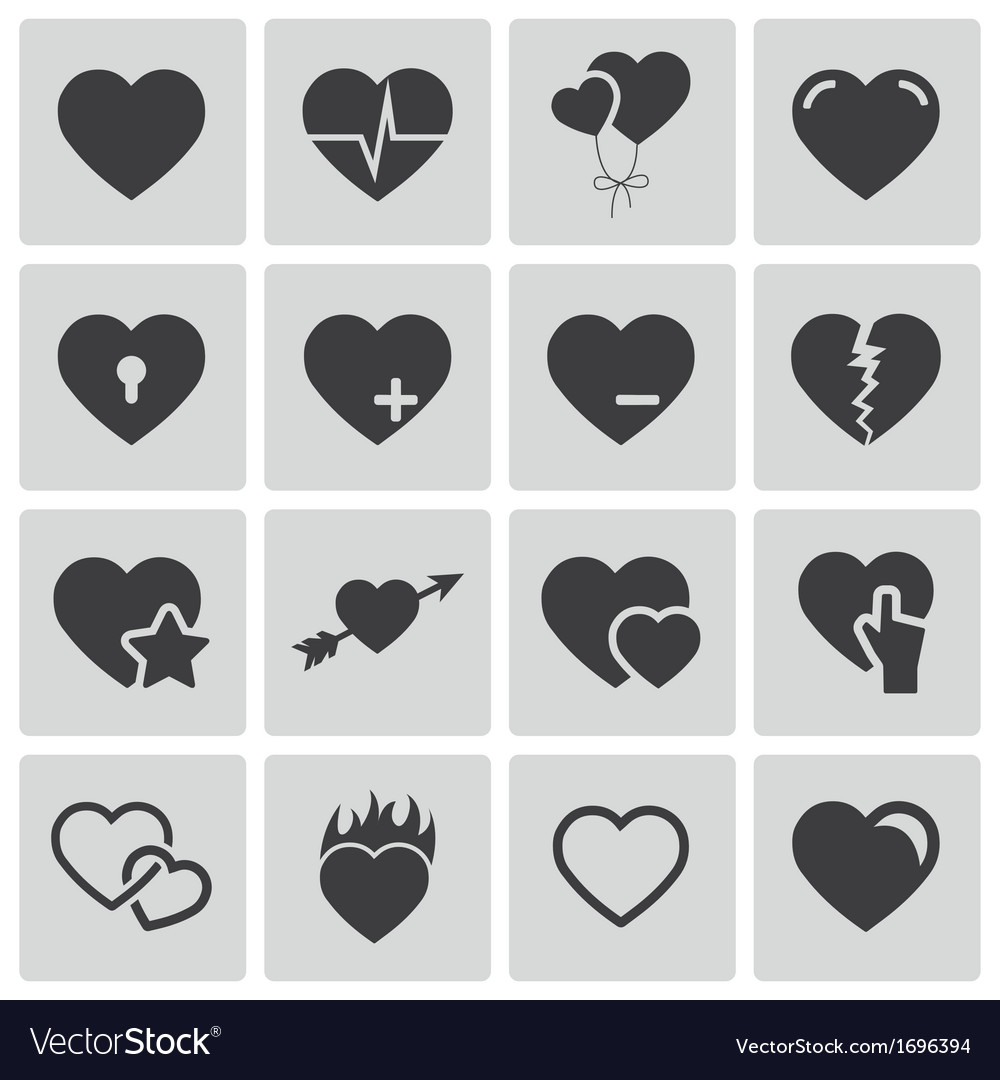 Black hearts icons set vector | Price: 1 Credit (USD $1)