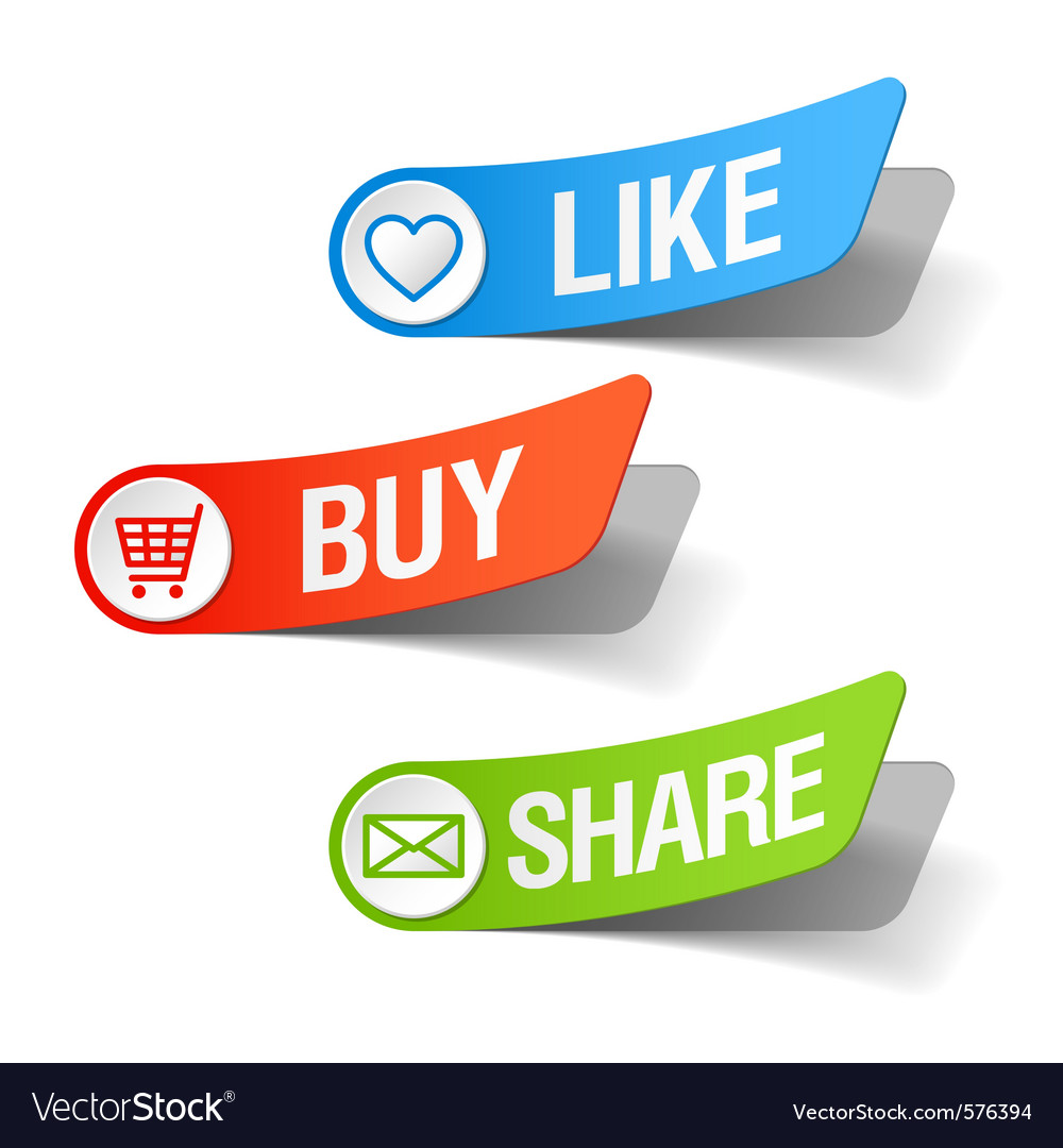 Buy like and share labels vector | Price: 1 Credit (USD $1)