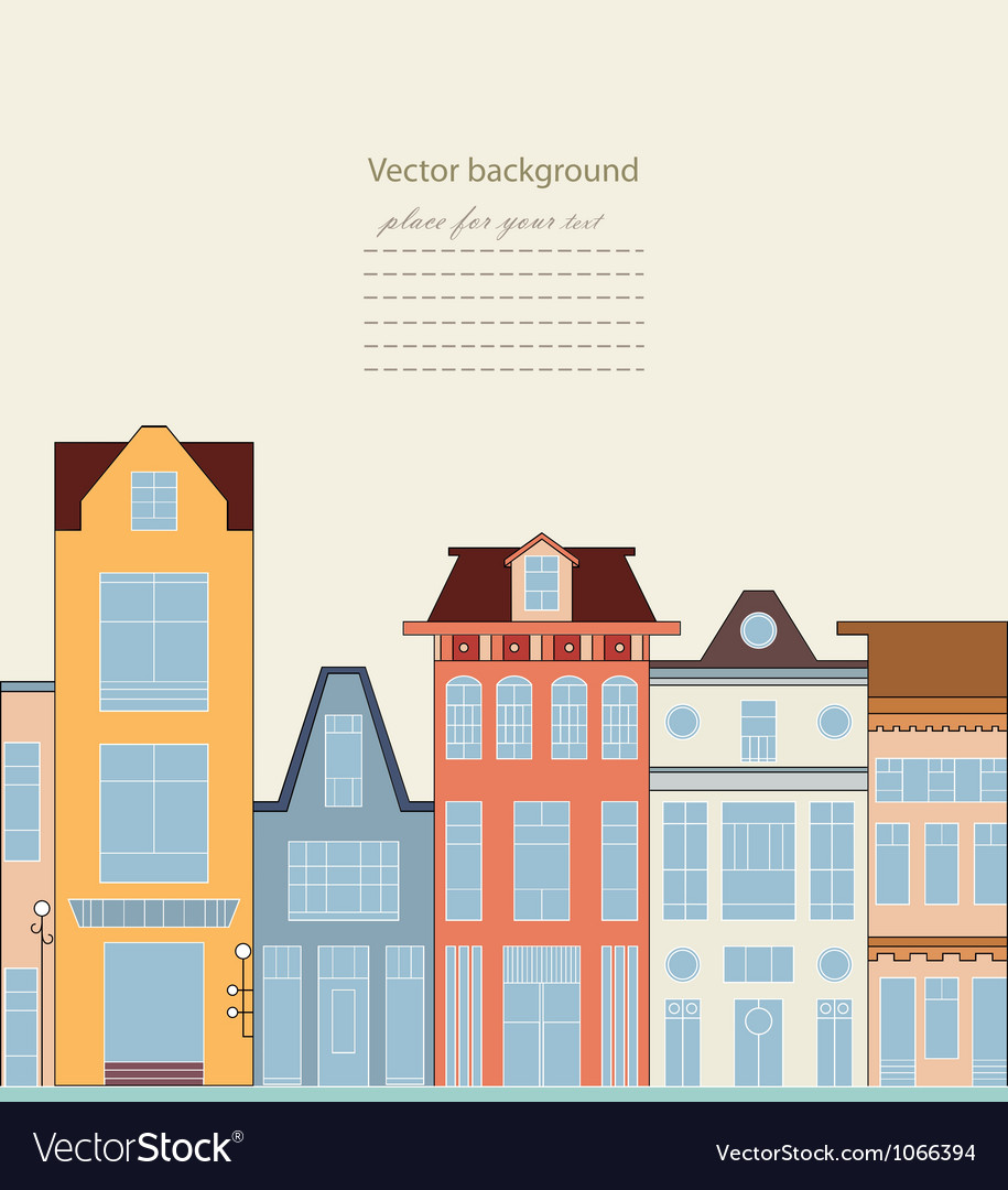 Card with houses vector | Price: 1 Credit (USD $1)