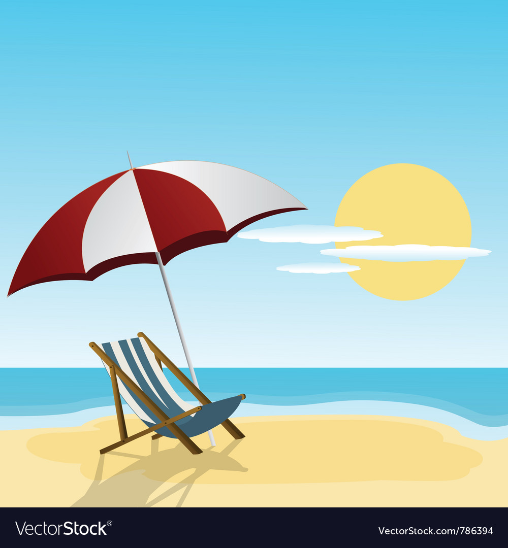 Chaise lounge and umbrella vector | Price: 1 Credit (USD $1)
