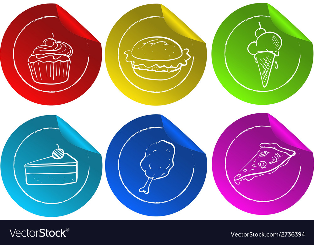 Fastfood stickers vector | Price: 1 Credit (USD $1)