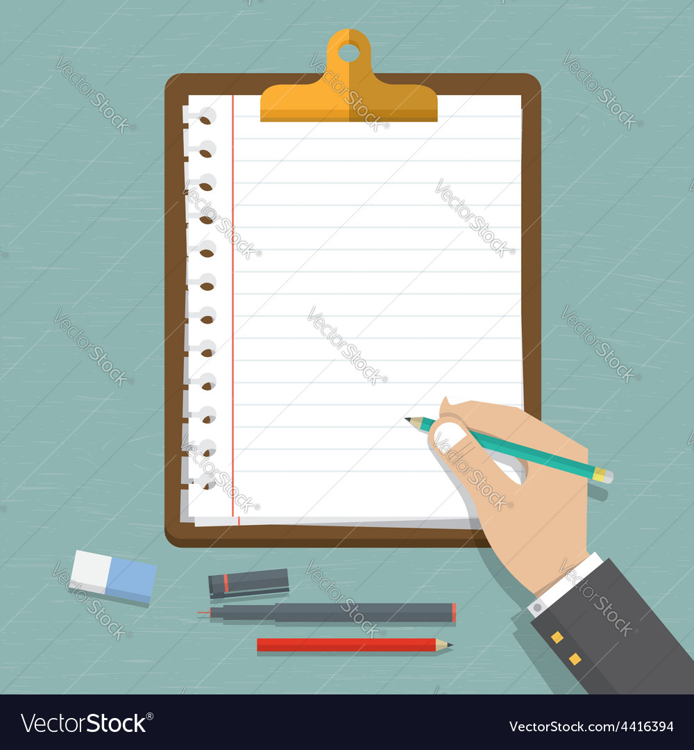 Hand holding pencil with paper and clipboard vector