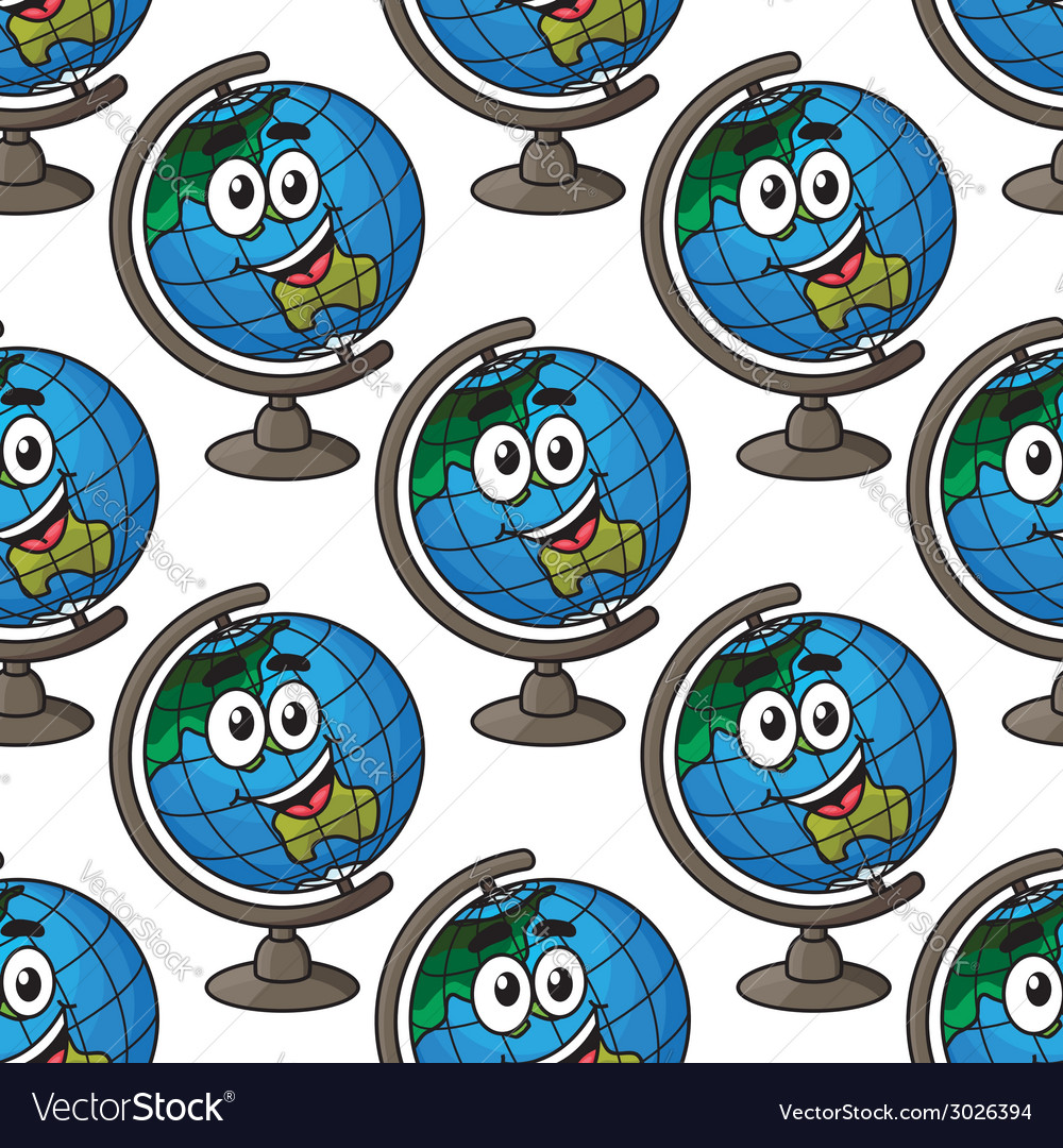 Happy cartoon globe seamless pattern vector | Price: 1 Credit (USD $1)