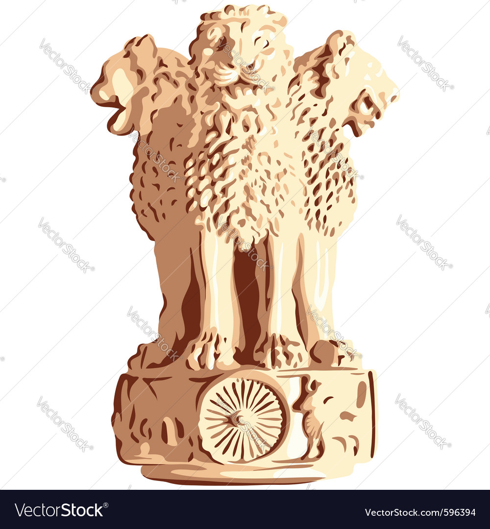 Indian lions emblem of ashoka vector | Price: 1 Credit (USD $1)