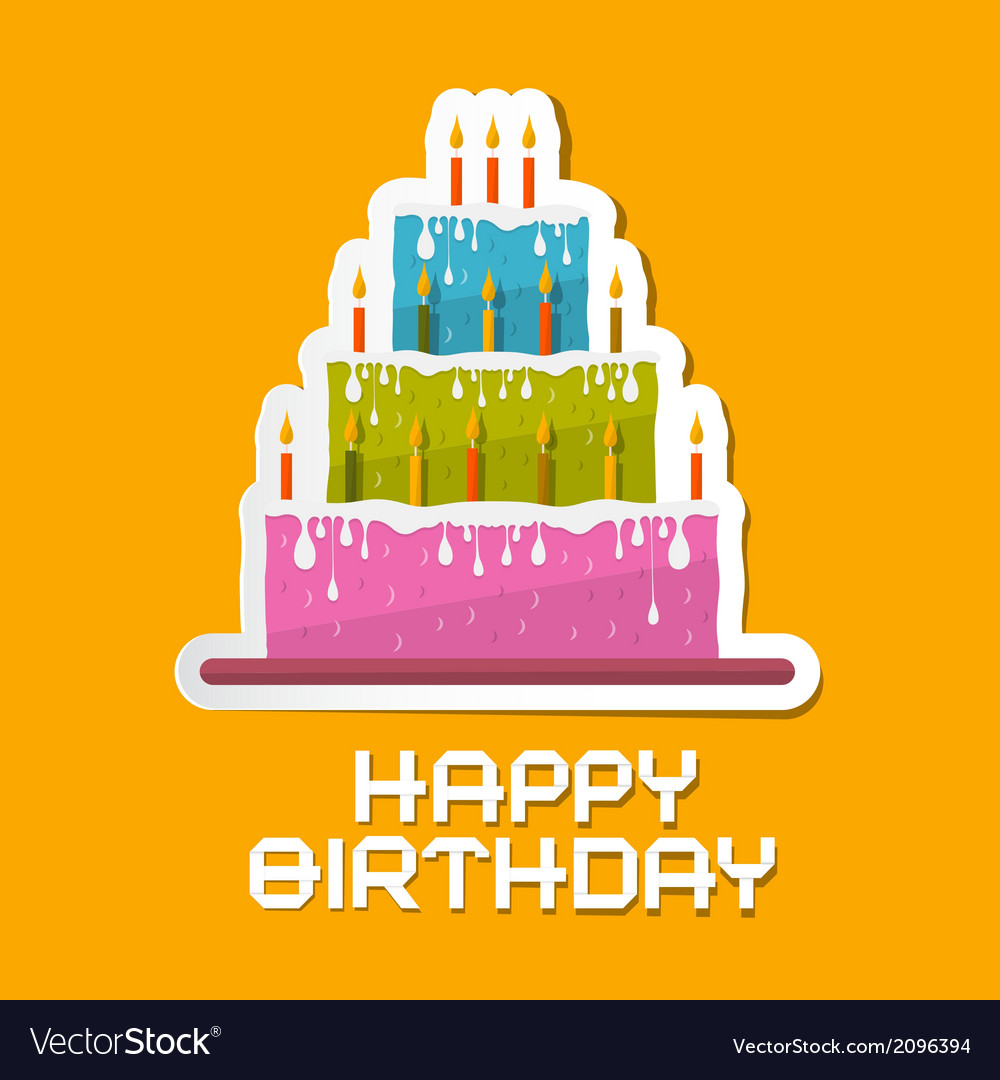 Orange birthday background with cake vector | Price: 1 Credit (USD $1)