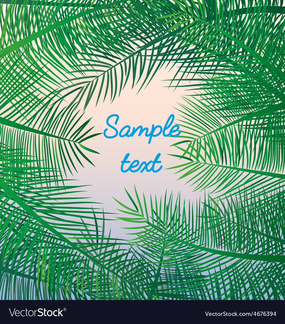 Palm leaves background exotic resort holidays sea vector | Price: 1 Credit (USD $1)