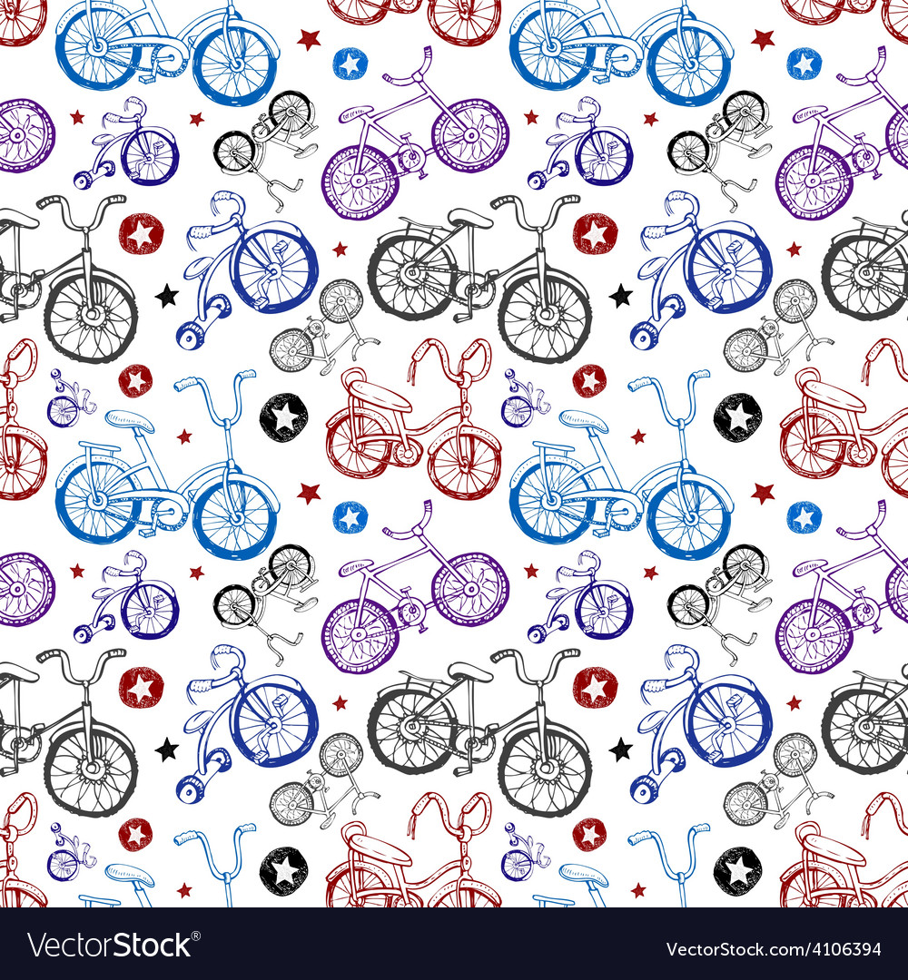 Seamless background with bicycles vector | Price: 1 Credit (USD $1)