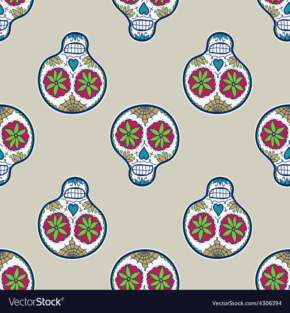 Seamless pattern with sugar skull vector | Price: 1 Credit (USD $1)