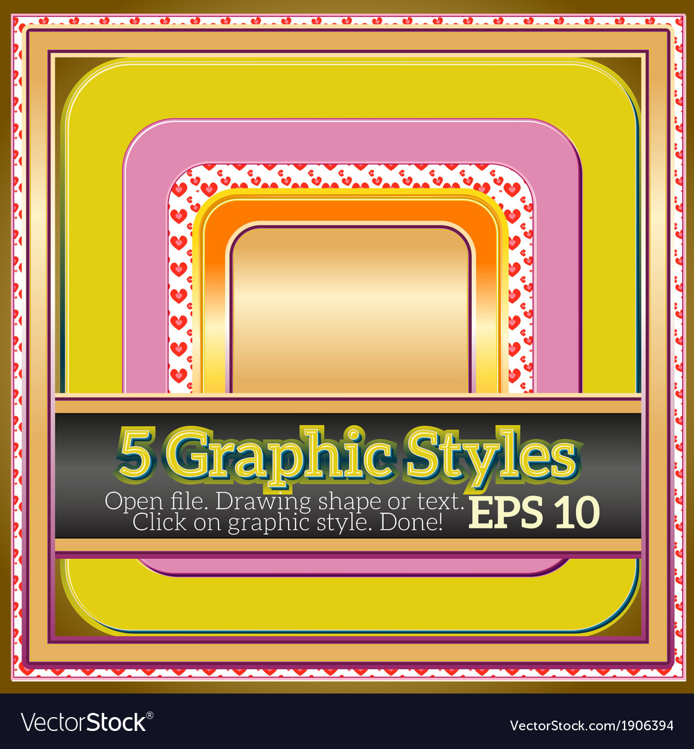 Set of funny warm yellow graphic styles for design vector | Price: 1 Credit (USD $1)
