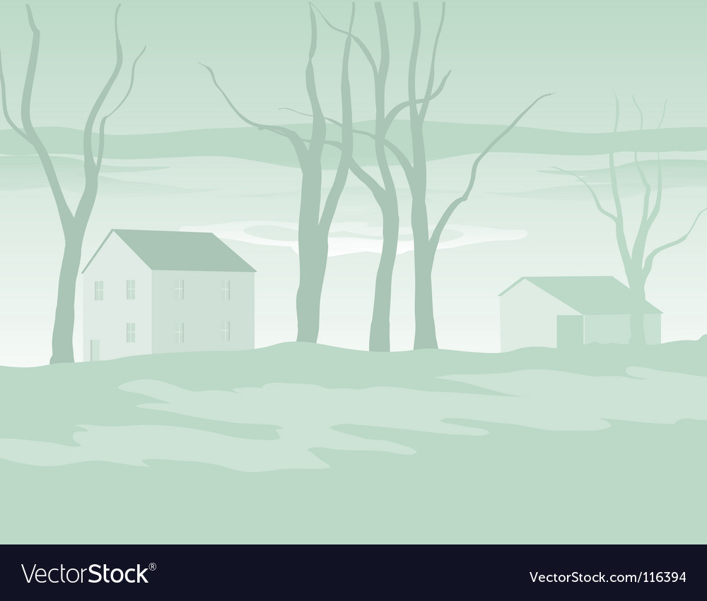 Shaker village evening in winter vector | Price: 1 Credit (USD $1)