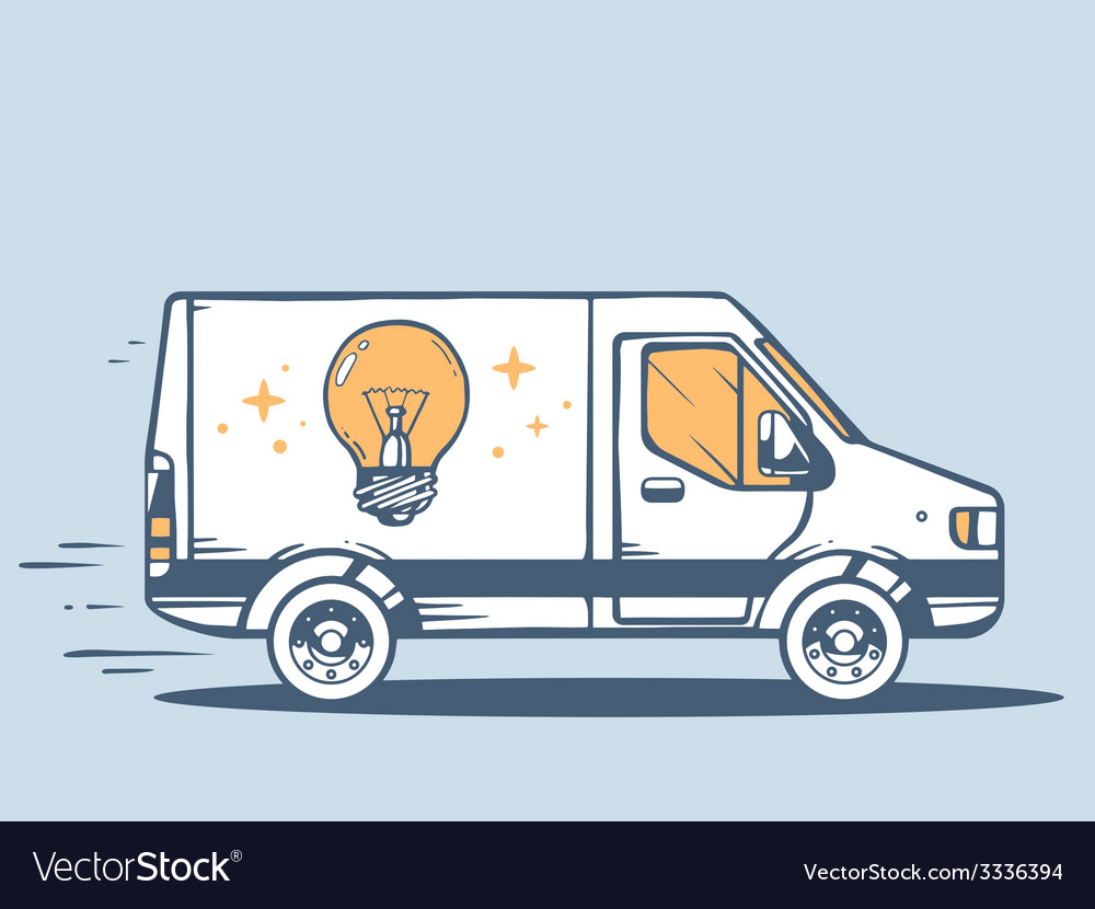 Van free and fast delivering bulb light t vector | Price: 1 Credit (USD $1)