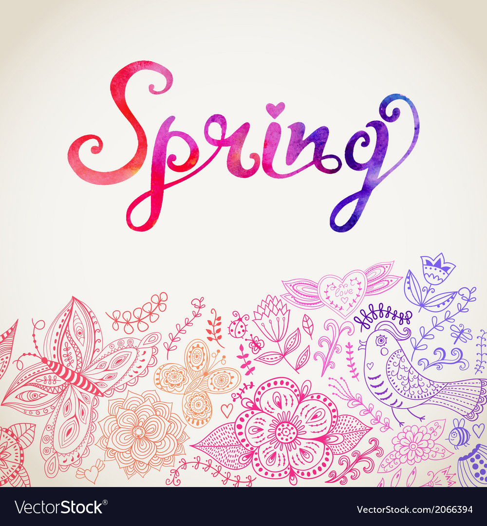 Watercolor floral greeting card with spring vector | Price: 1 Credit (USD $1)